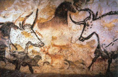 Aurochs depicted at the Lascaux cave complex, from the Upper Palaeolithic, in France.