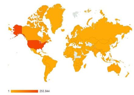 Views by country, beginning the 25th of February 2012 up to the present day (03/01/2013).