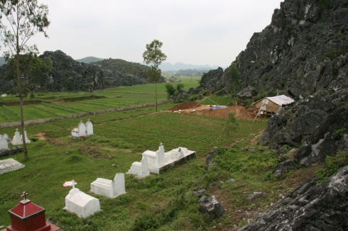 The Man Bac landscape looking southwest - excavations centre right