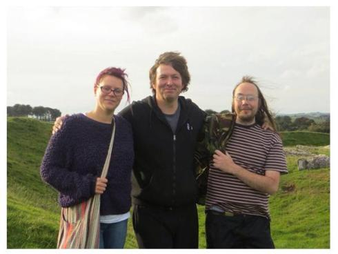 The author, centre, on a recent trip to the Arbor Low henge and stone circle in Derbyshire, accompanied by Gareth Evans and Sarah Harrison. Co-incidentally Gareth is a practicing anarchist whilst Sarah runs a very hedonistic bar.